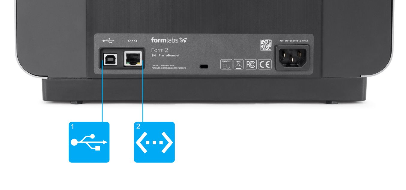 connecter la form 2 usb ou ethernet